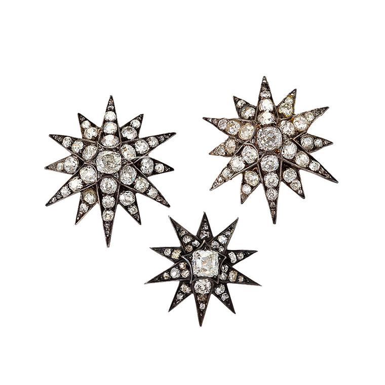 Macklowe Gallery set of three diamond star brooches