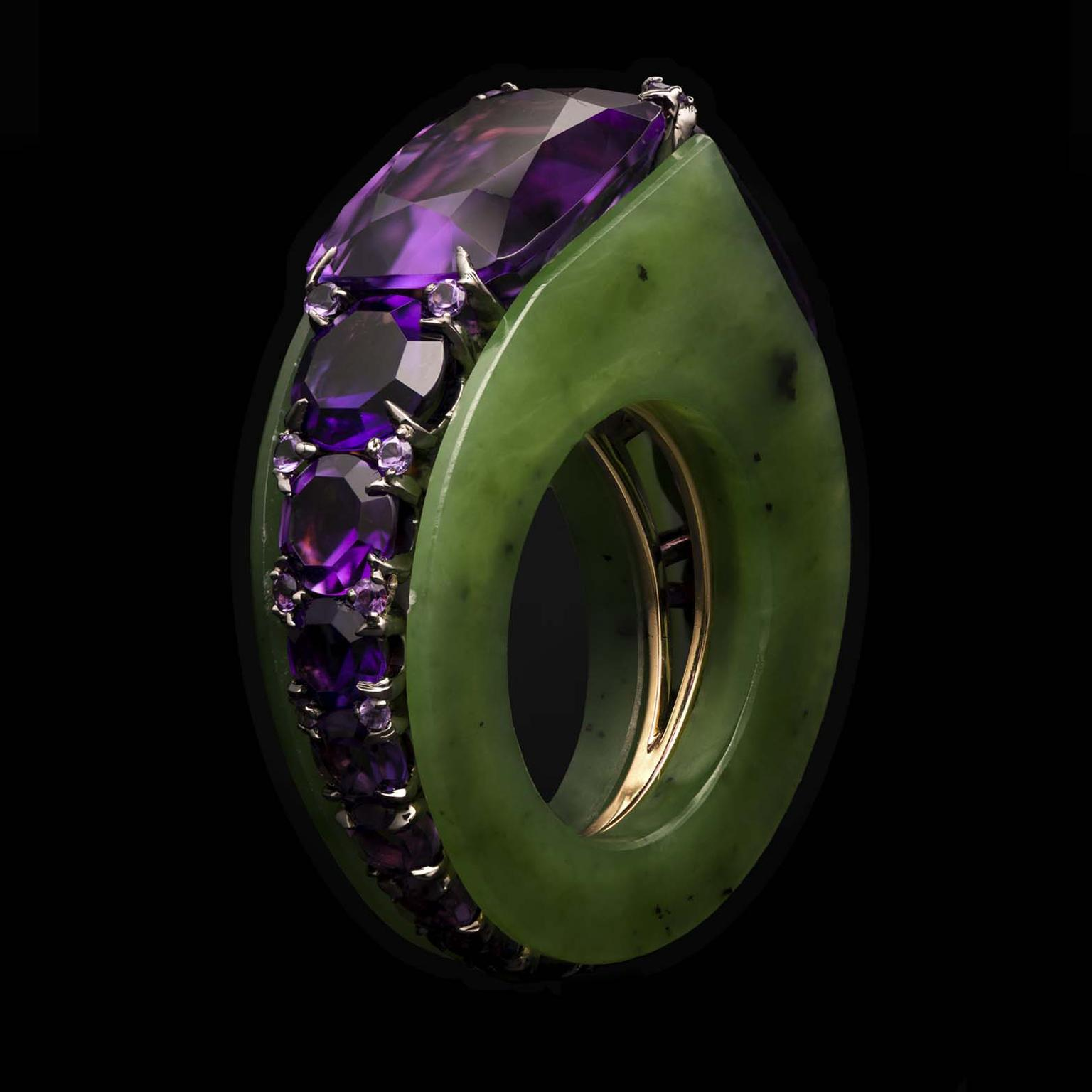 Ninotchka nephrite and amethyst ring