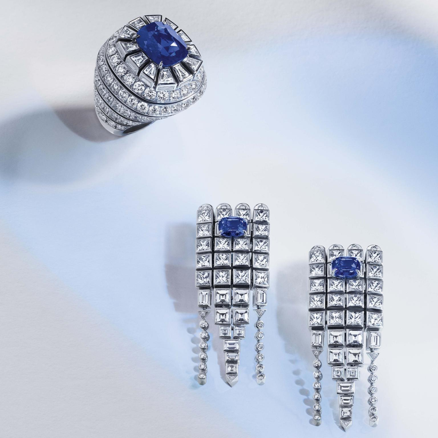 Louis Vuitton Riders of the Knights Le Royaume diamond and sapphire earrings and ring