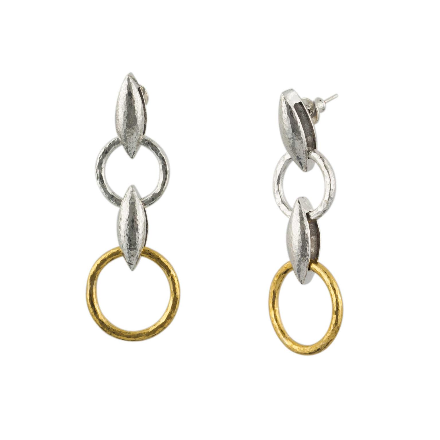 Gurhan Wheatla Double Drop Earring in Sterling Silver Layered with 24ct Gold