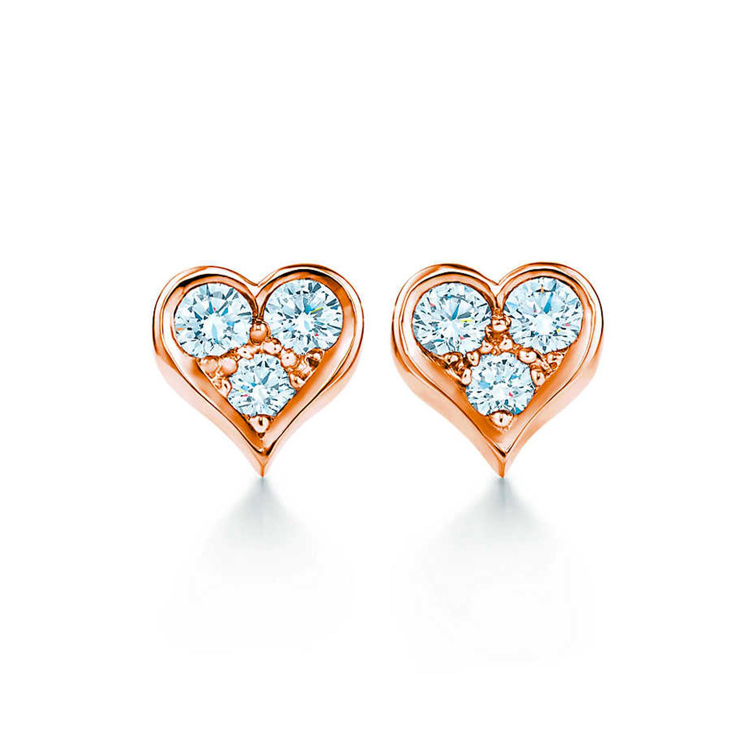 rhsa your shaped stud e p love earrings shine with zirconia arche heart korean