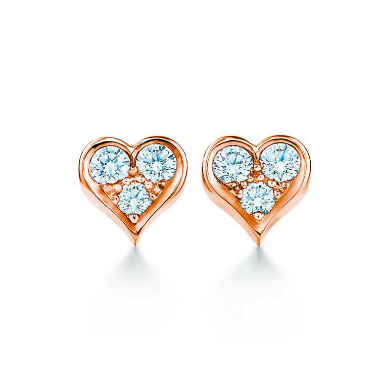 Tiffany Heart studs in rose gold with diamonds