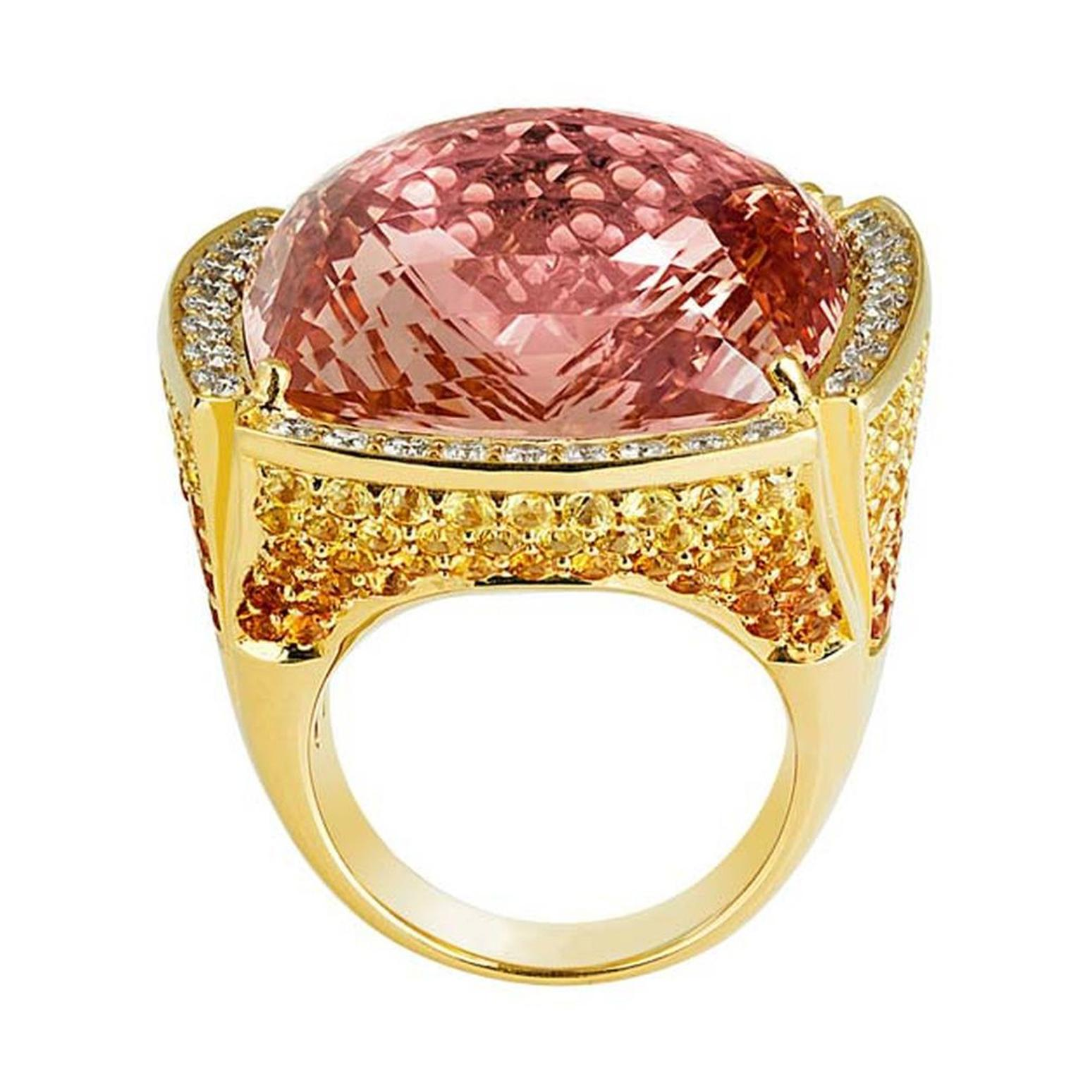 Selected Jewels Grand Palmyra ring in pink gold, set with a 42.28ct cushion-cut morganite surrounded by white diamonds and yellow sapphires.