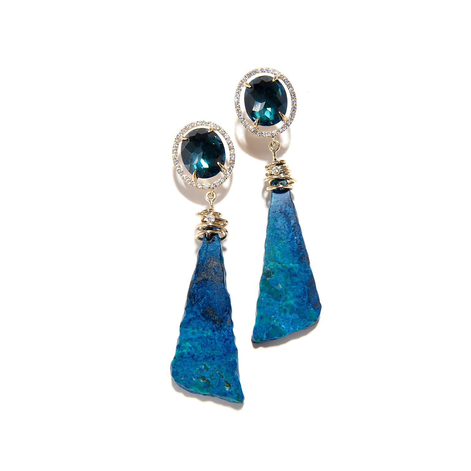 Jordan Alexander blue topaz and azurite earrings