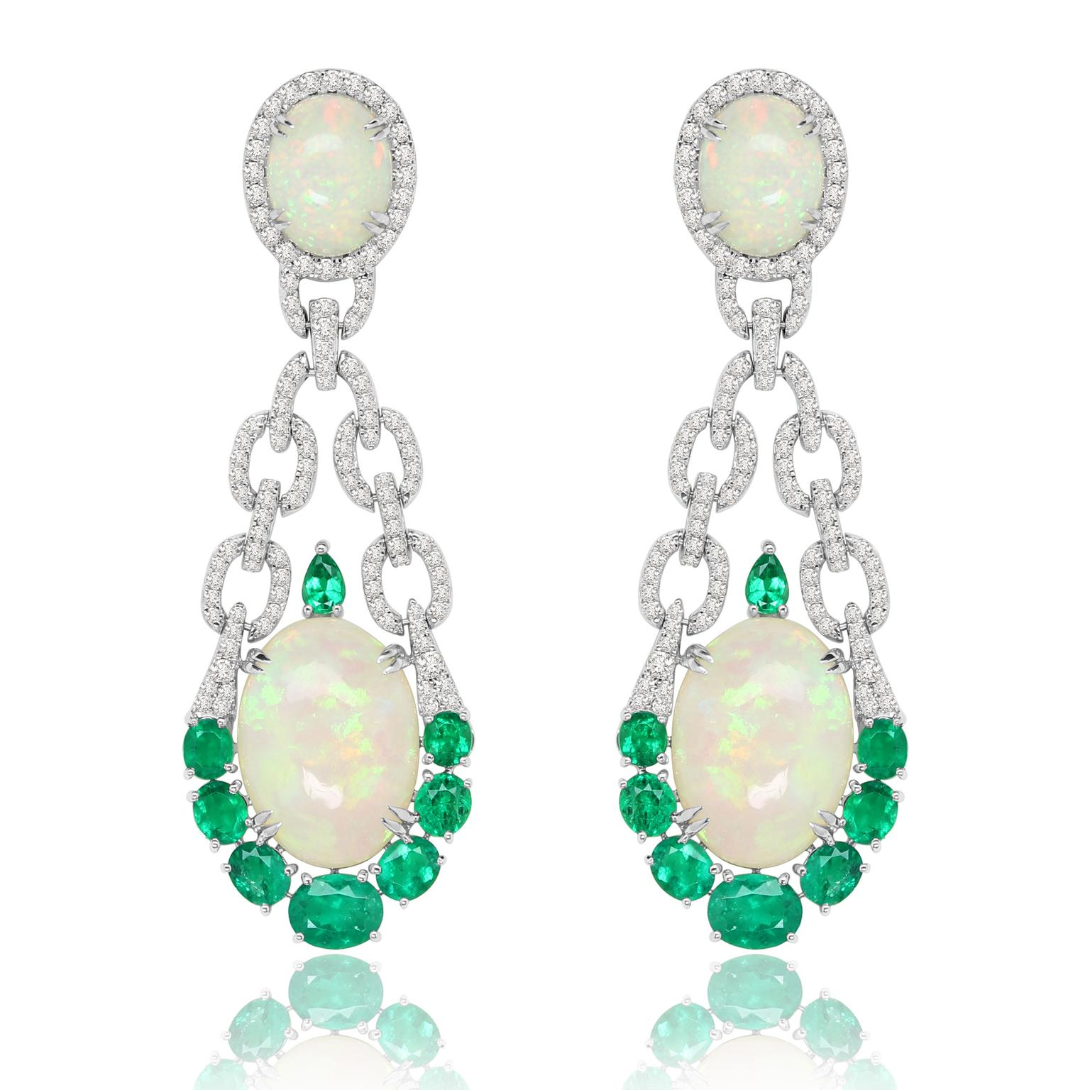 Sutra Welo opal, emerald and diamond earrings