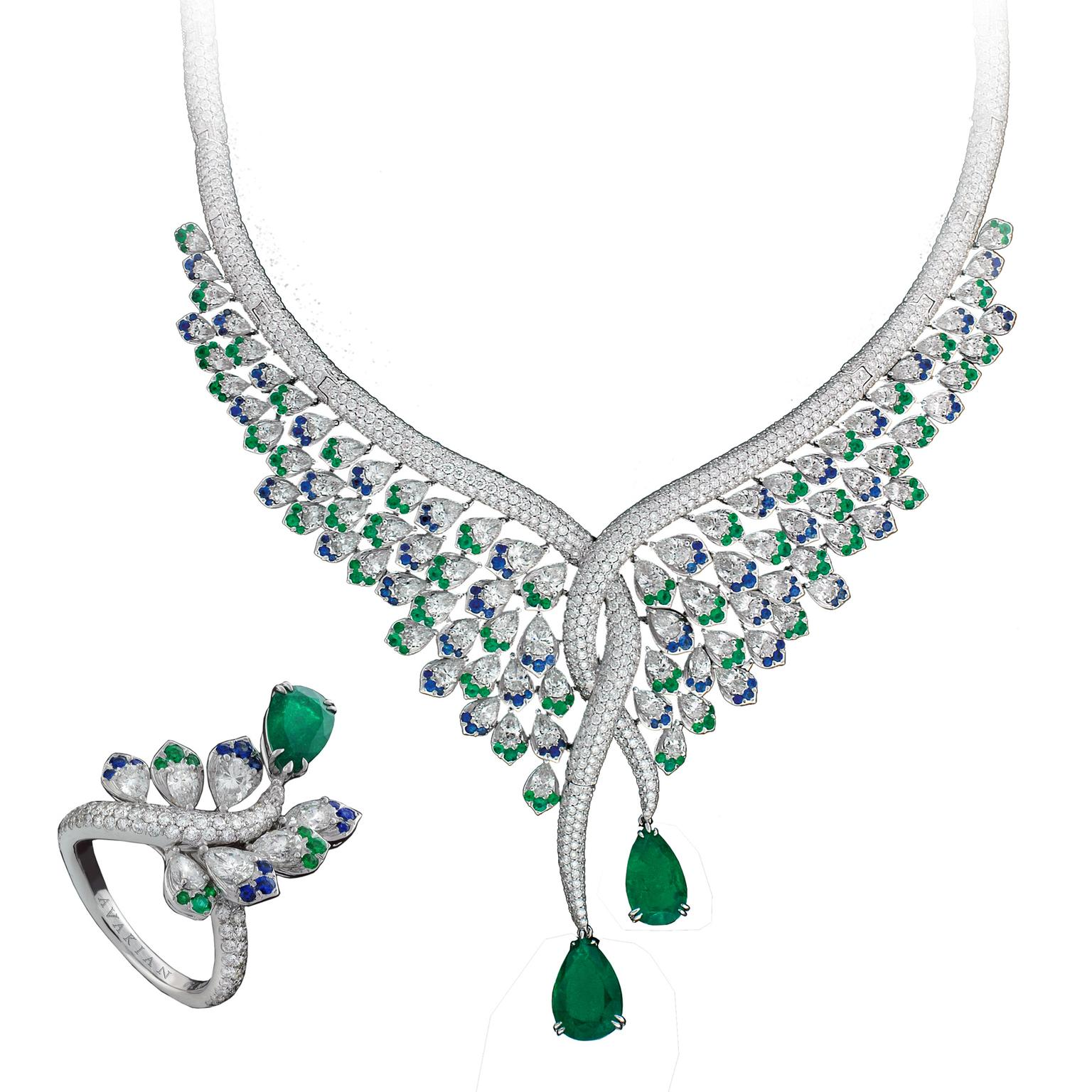 Emerald sapphire and diamond necklace and ring set