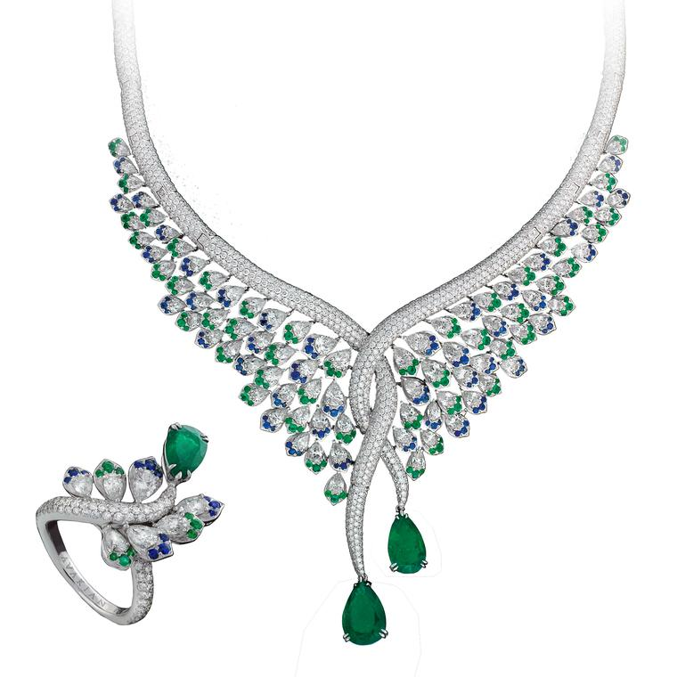 Emerald, sapphire and diamond necklace and ring set