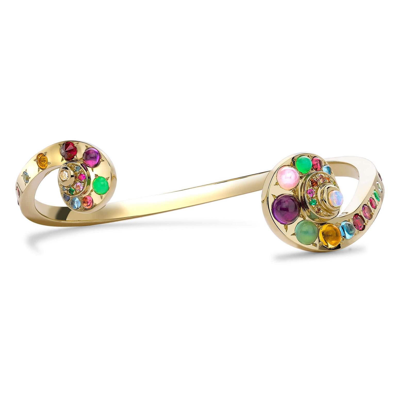 Venyx Moonshell yellow gold bangle with coloured gemstone cabochons