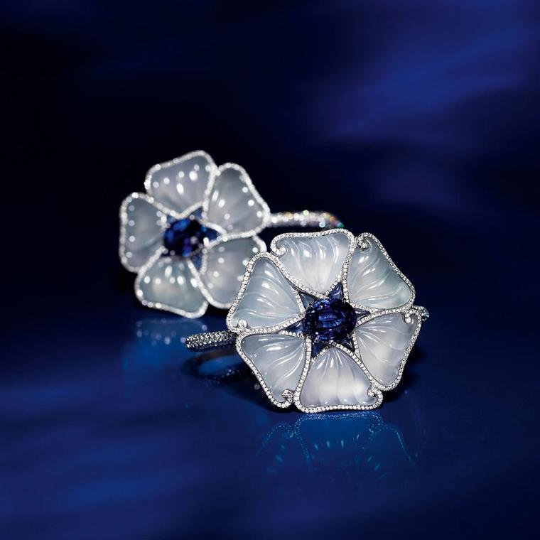 Edmond Chin blue sapphire, glass jadeite and white diamond bracelet