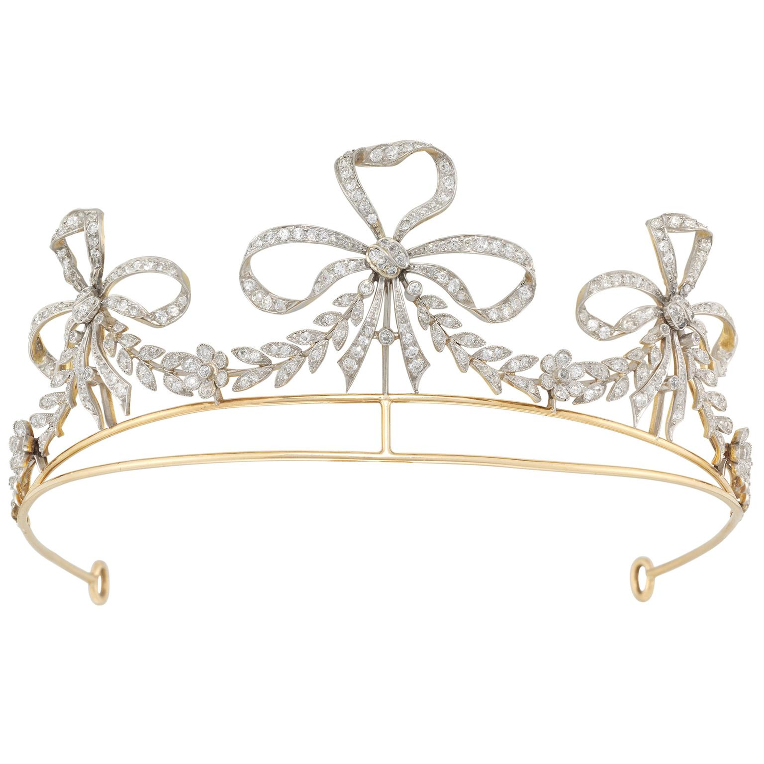 Bentley & Skinner 20th century American scroll tiara with diamond ribbon motifs