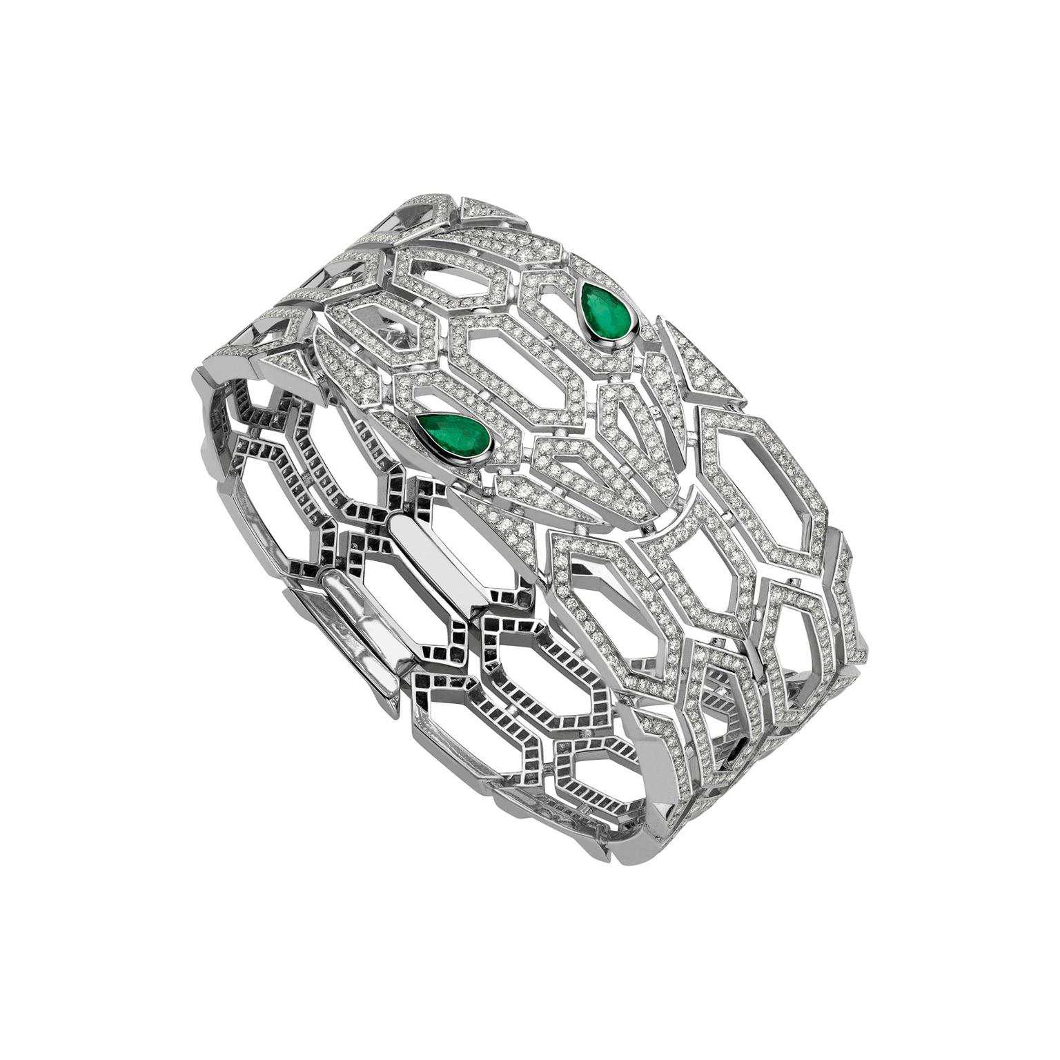 Bulgari Serpenti Seduttori white gold bracelet with emeralds