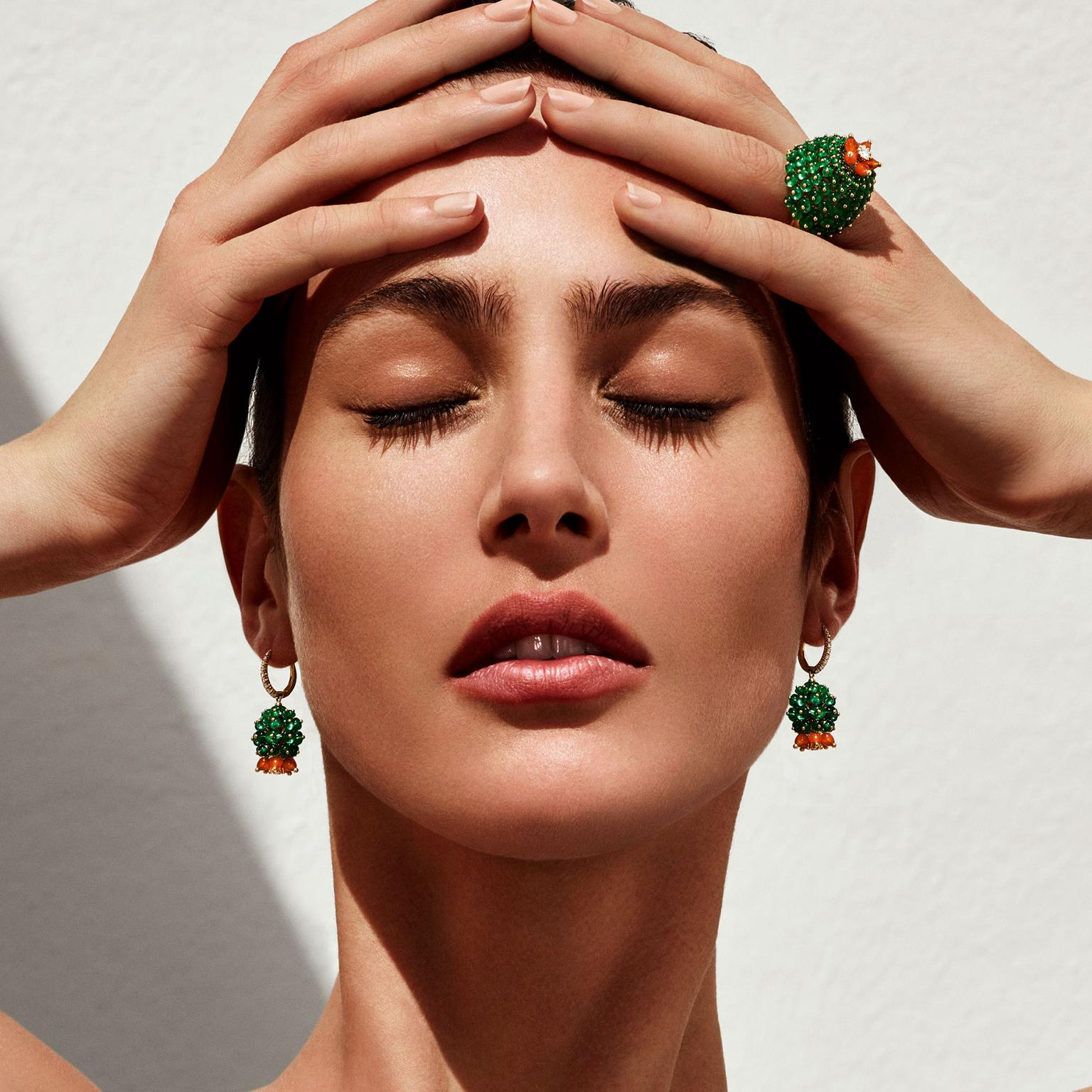 Cartier Cactus earrings and ring