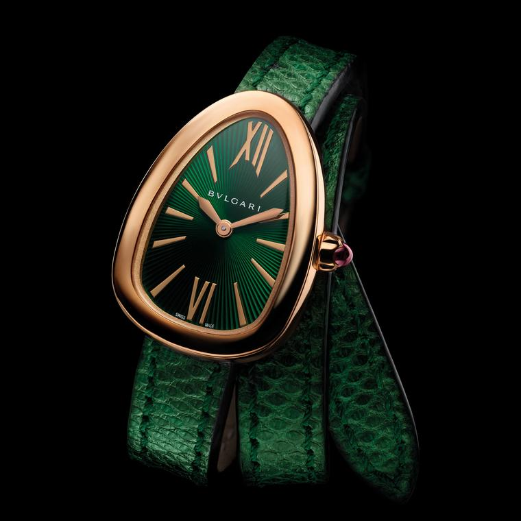 Serpenti watch in rose gold with green lacquered dial