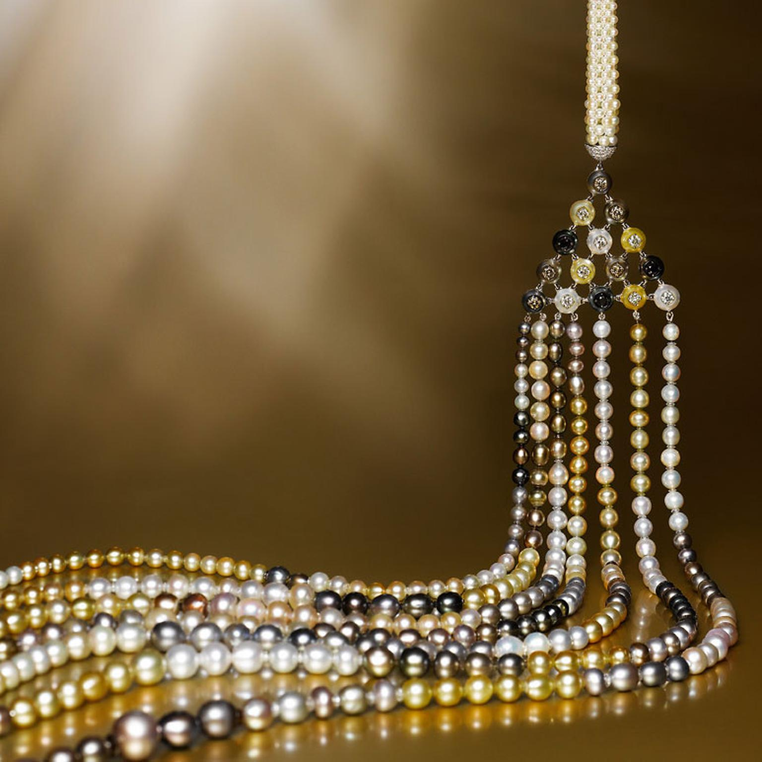 Edmond Chin seven strand pearl necklace with pearl, white diamond and platinum