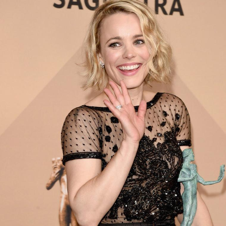 Rachel McAdams wearing Harry Kotlar diamond jewelry to SAGs