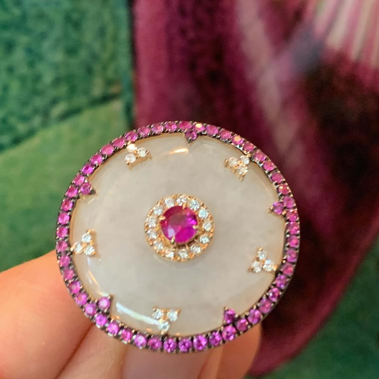 Jade and pink sapphires Celeste ring from Nadine Aysoy