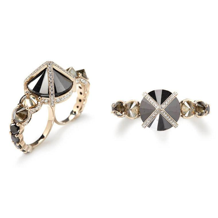 Double-Finger white, grey and inverted black diamond ring