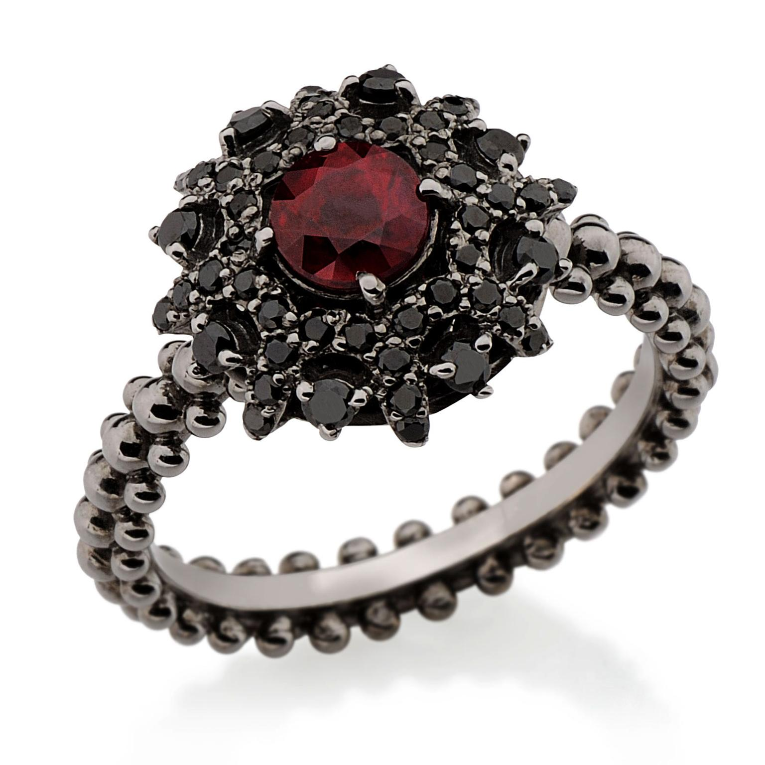 Carla Amorim Bachiana ruby and black diamond engagement ring