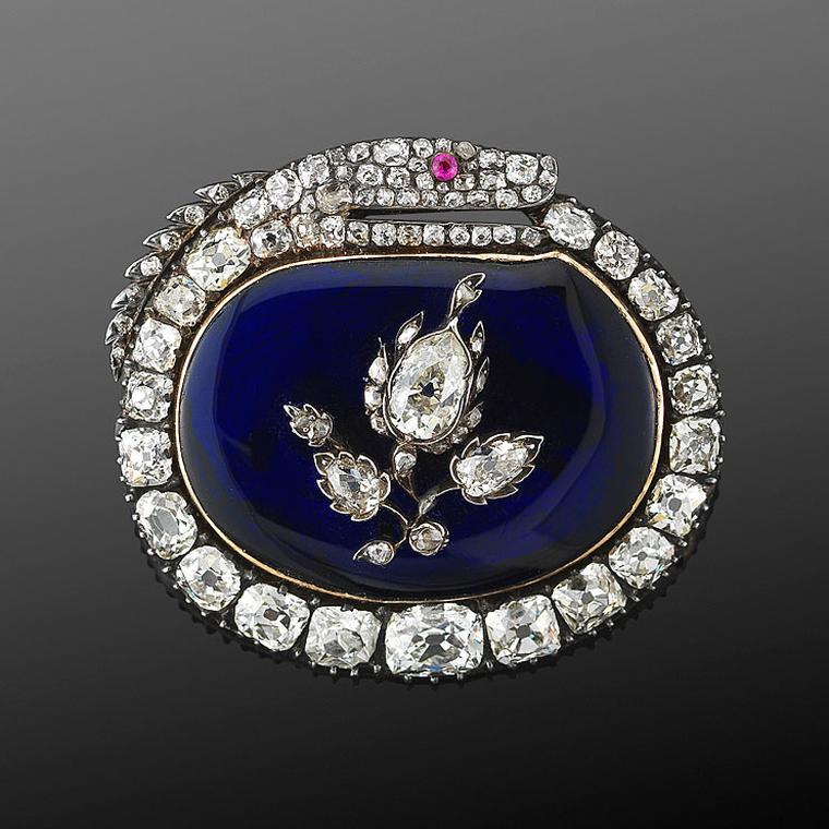 Antique brooches Fred Leighton brooch with blue enamel and diamonds