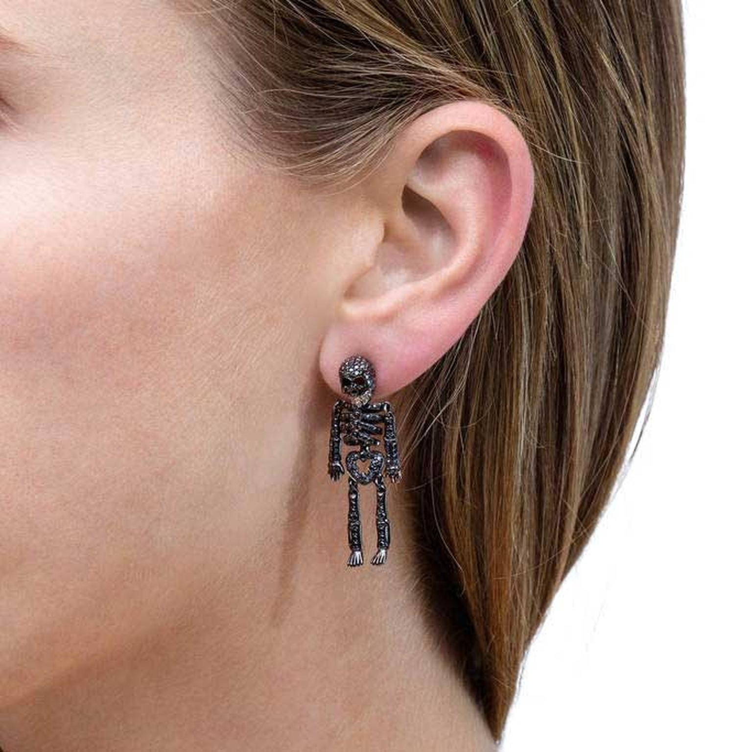 Lydia Courteille black diamond skeleton earrings