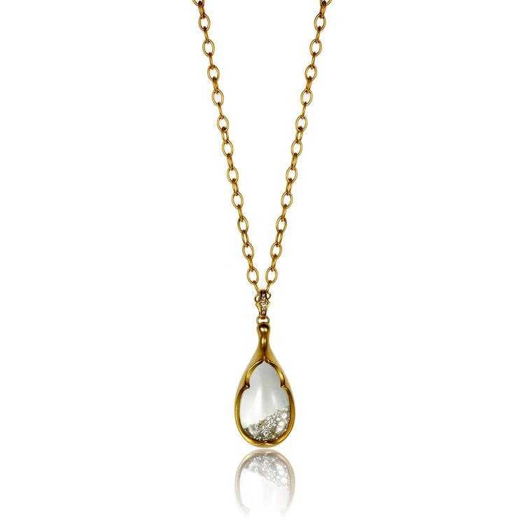 Anahita crystal amulet with diamonds