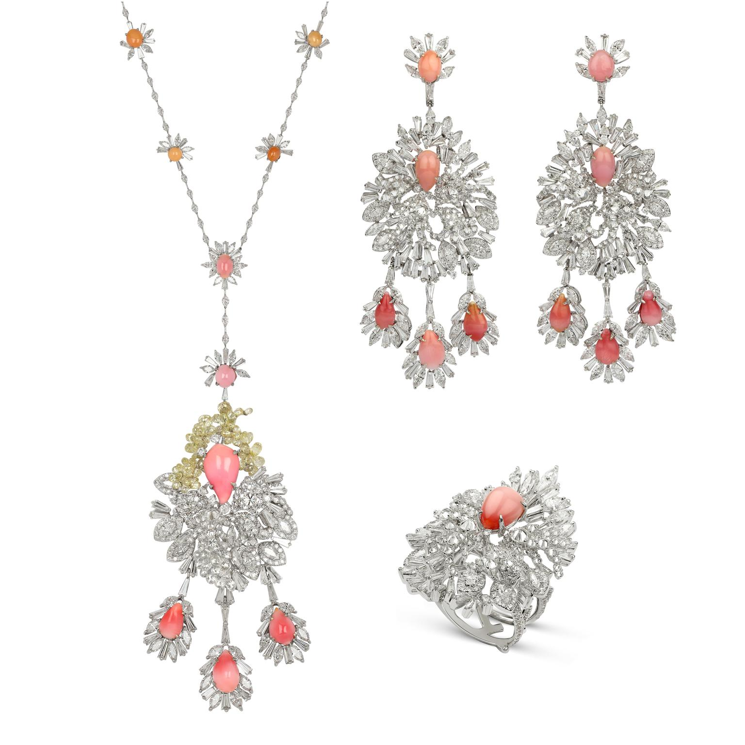 Bina Goenka Conch Pearl Necklace, Earrings And Ring Suite