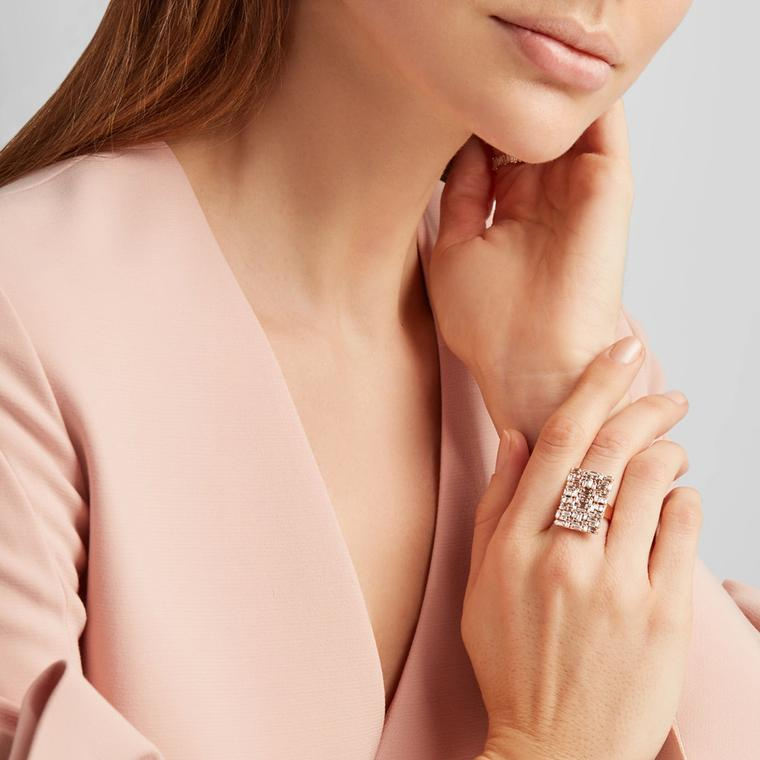 Suzanne Kalan rose gold and diamond ring on model