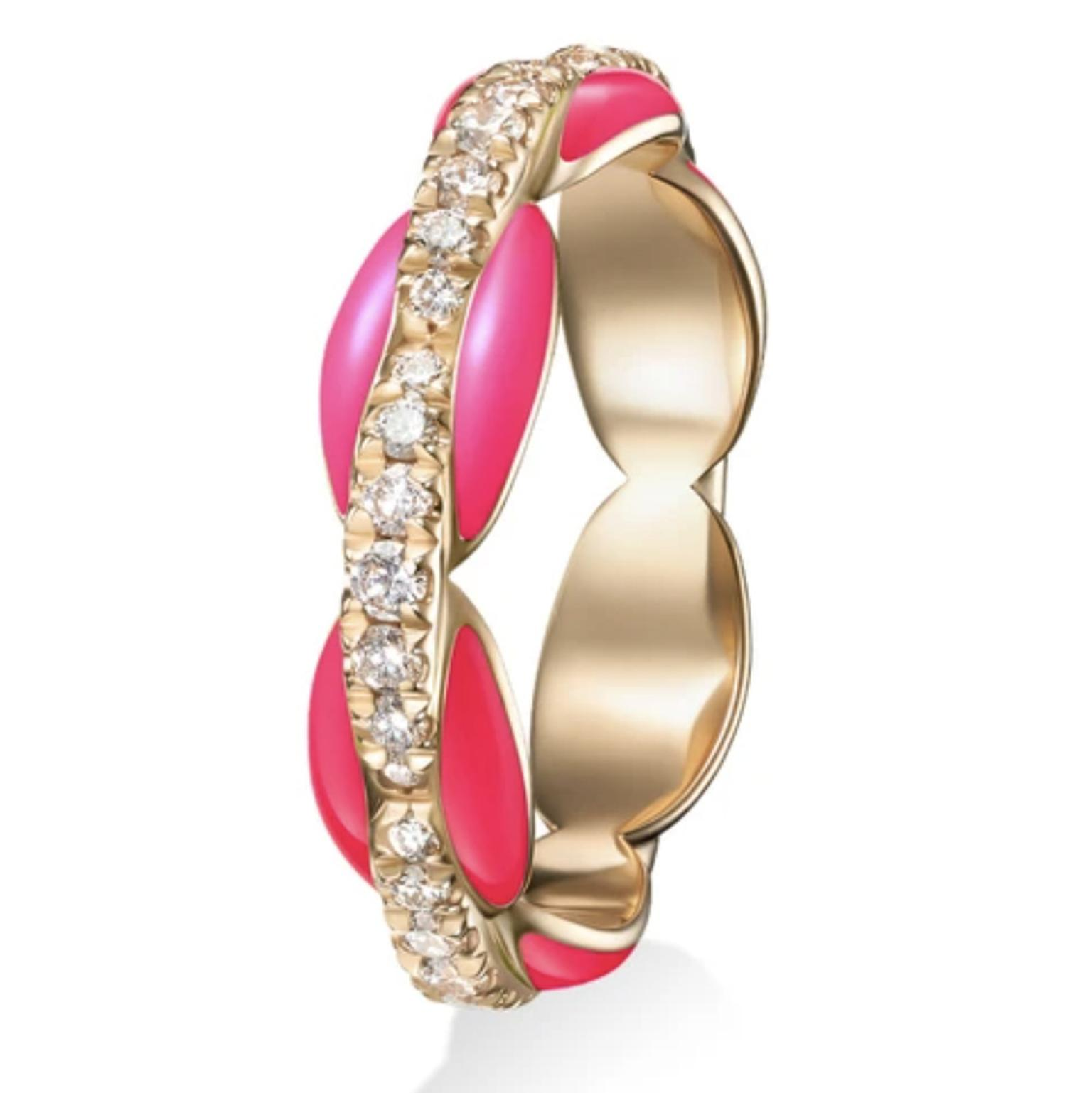 MELISSA KAYE Ada diamond, enamel & 18kt rose-gold ring  £3,660
