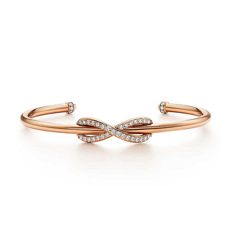 Infinity cuff in rose gold with diamonds