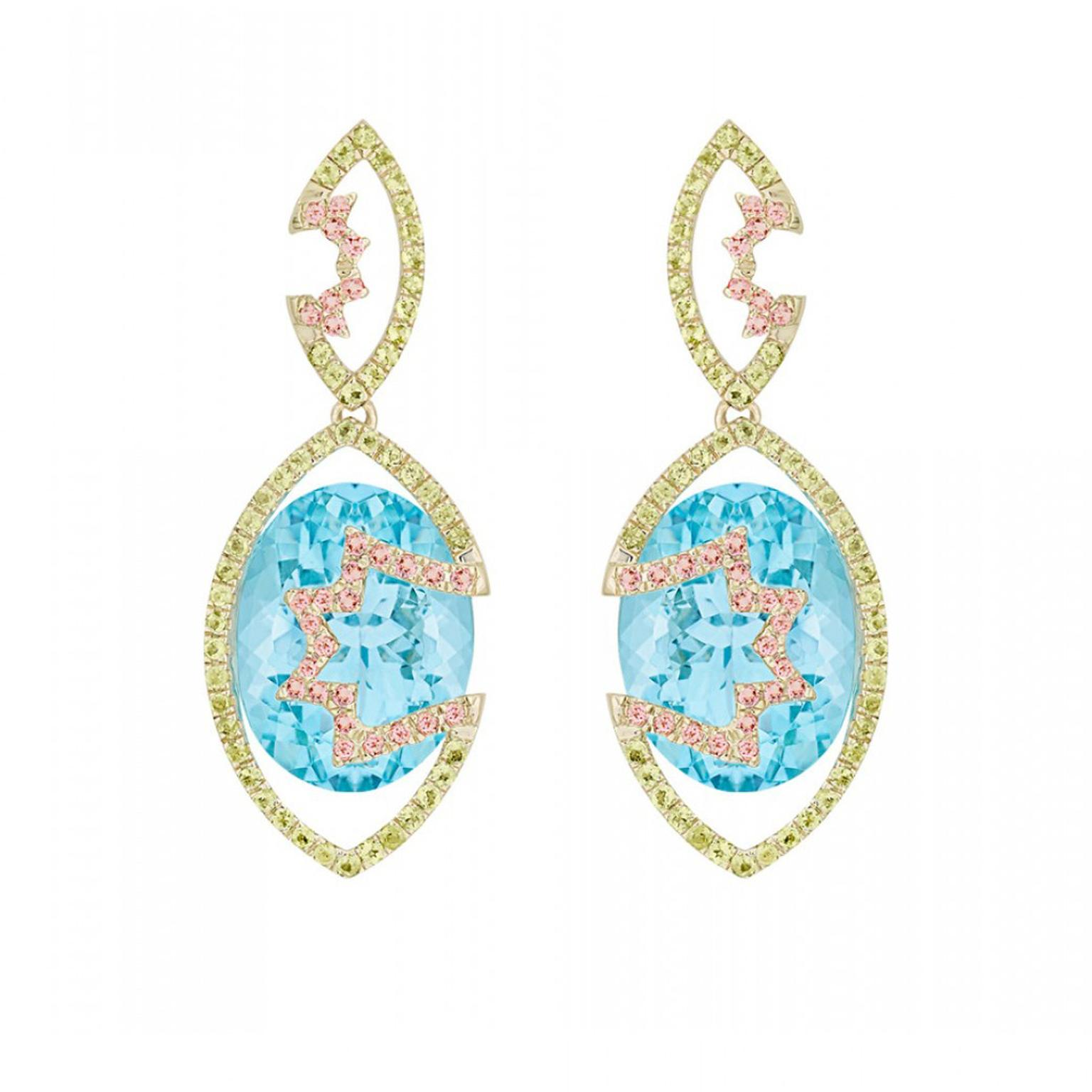 Arya Esha Swiss blue topaz earrings with tourmaline and peridot accents