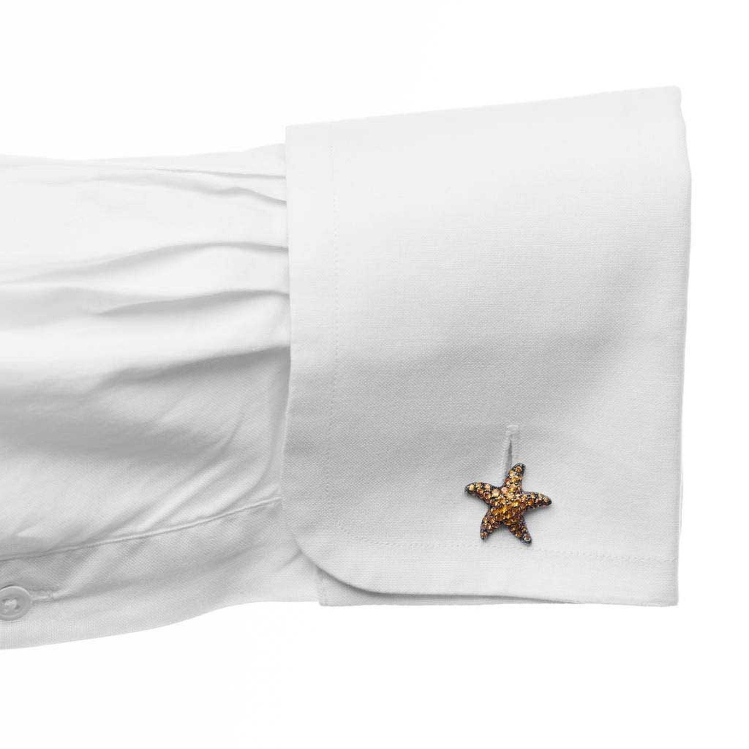 Lydia Courteille orange sapphire Sea Stars cufflinks
