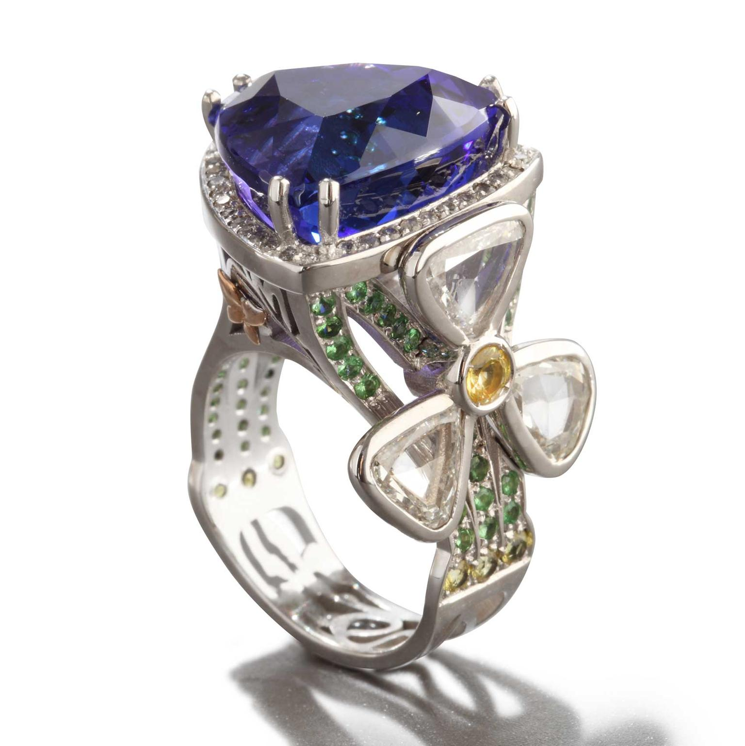 Iris tanzanite diamond sapphire and tsavorite ring