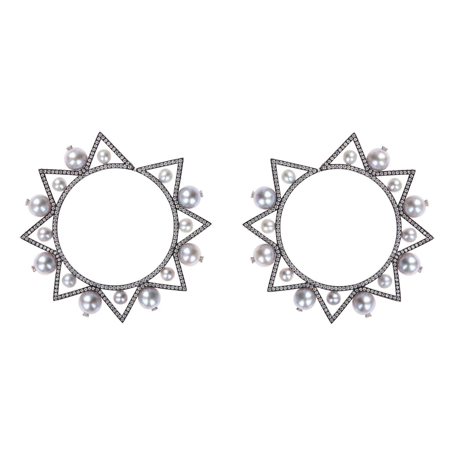 Nikos Koulis front-facing Lingerie hoop earrings