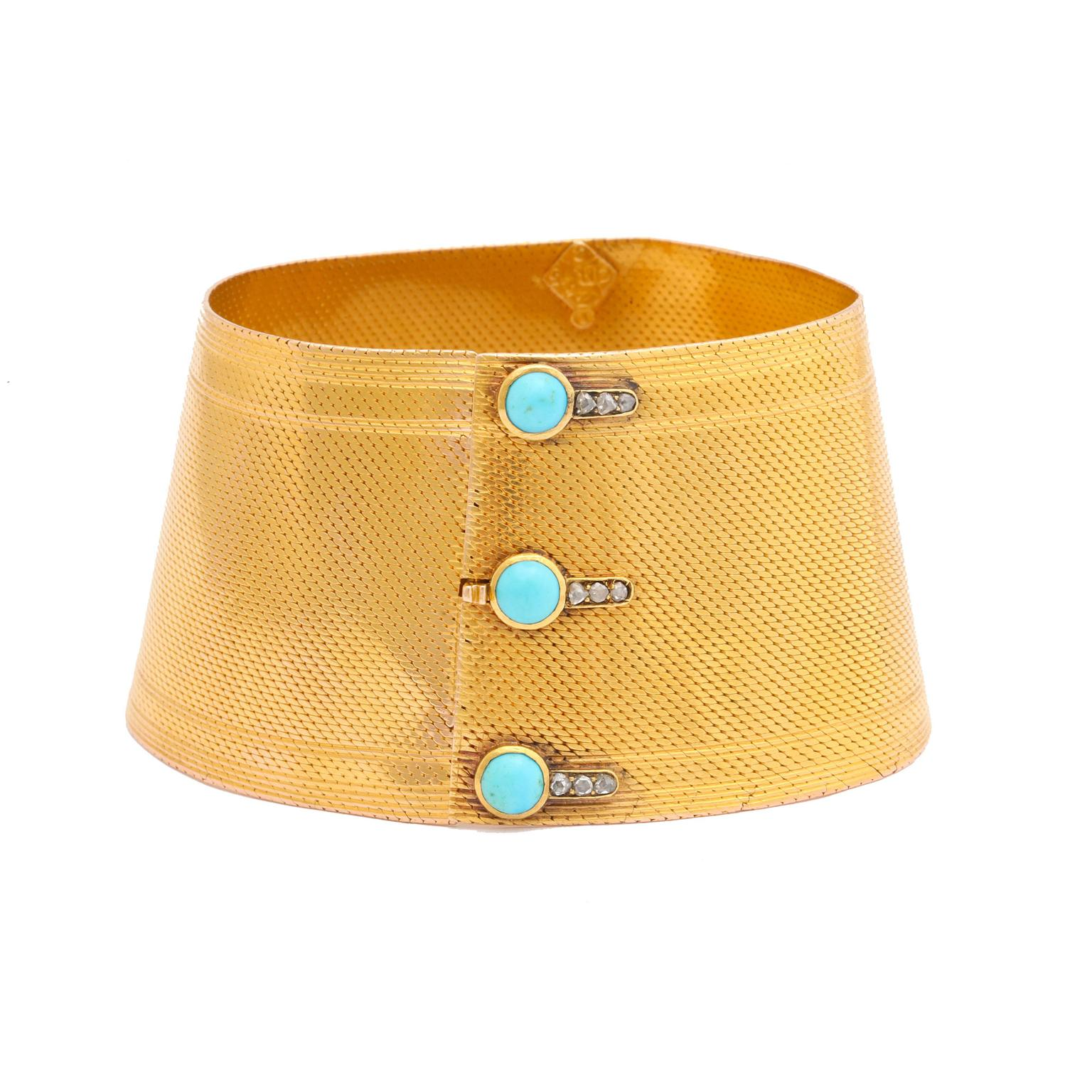 Pat Saling gold cuff bracelet with turquoise buttons