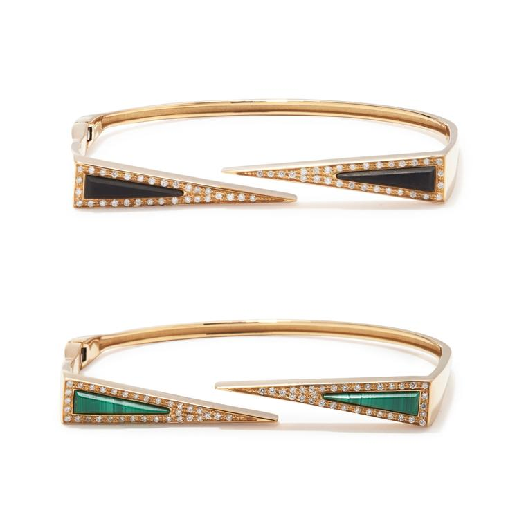 Maiyet Dagger gold bracelets with black horn, malachite and diamonds