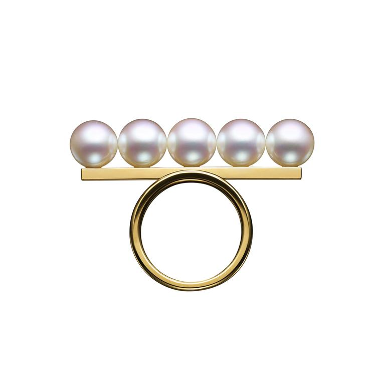 Tasaki Balance ring with Akoya pearls
