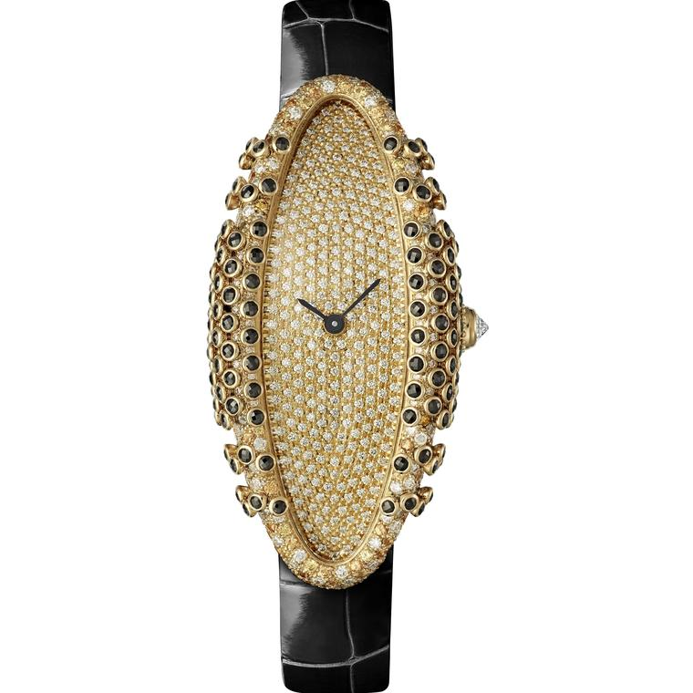 Cartier Libre Baignoire Allongee Black watch with black spinels yellow sapphires and diamonds 2019