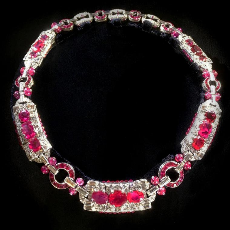 Cartier 1930 ruby and diamond necklace for sale at SJ Phillips, seen at TEFAF 2017