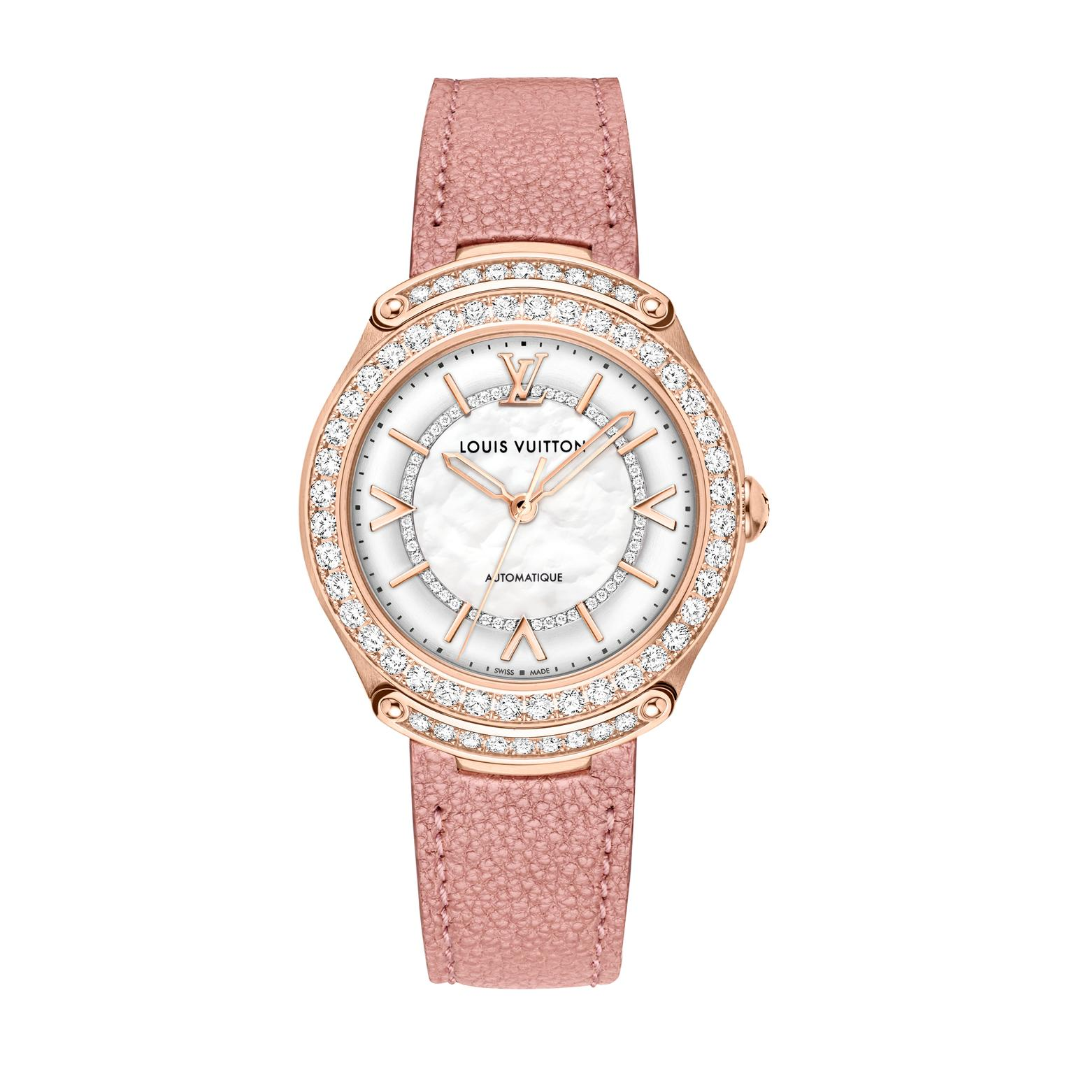 LV Fifty Five watch in pink gold and diamonds