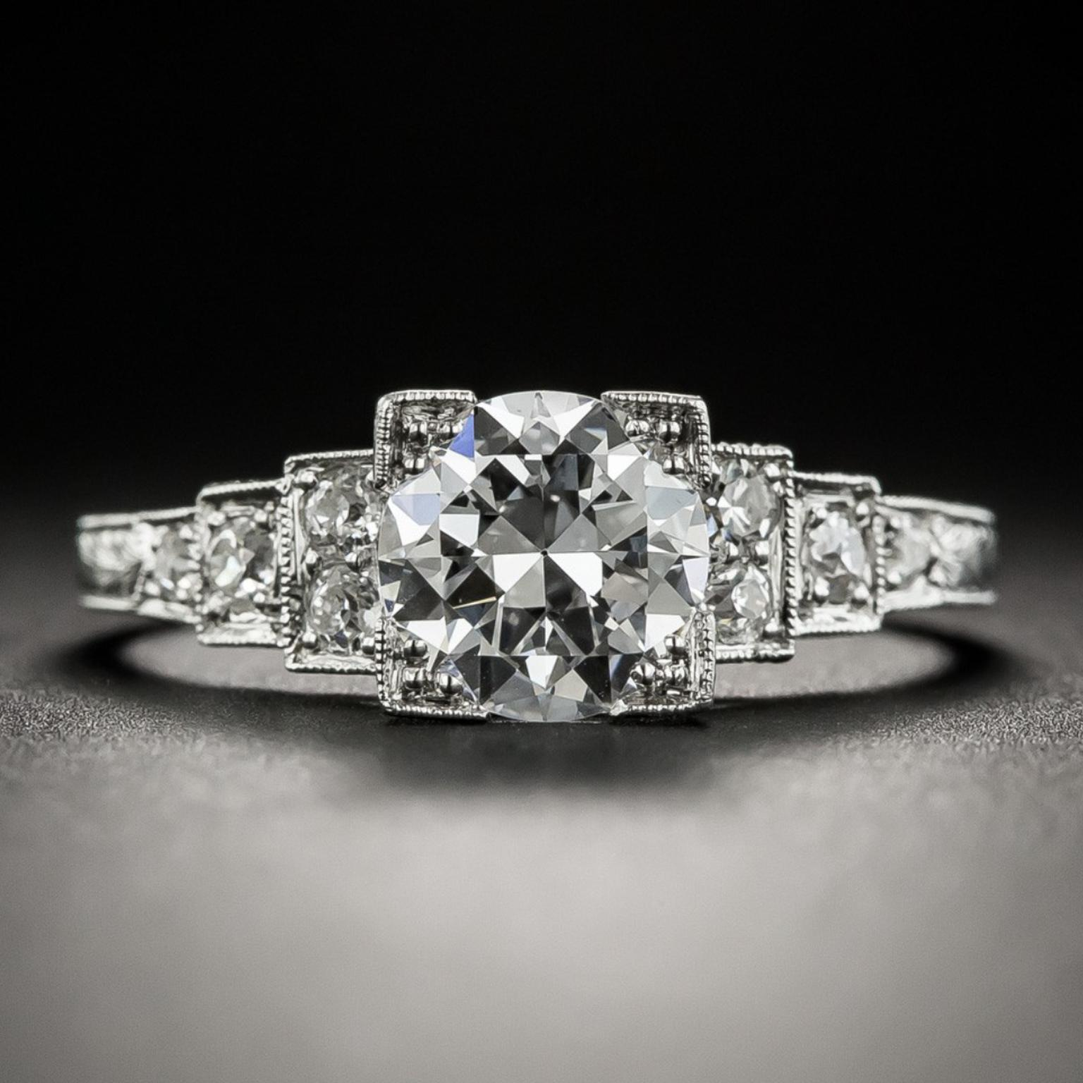 ART DECO DIAMOND PLATINUM ENGAGEMENT RING c