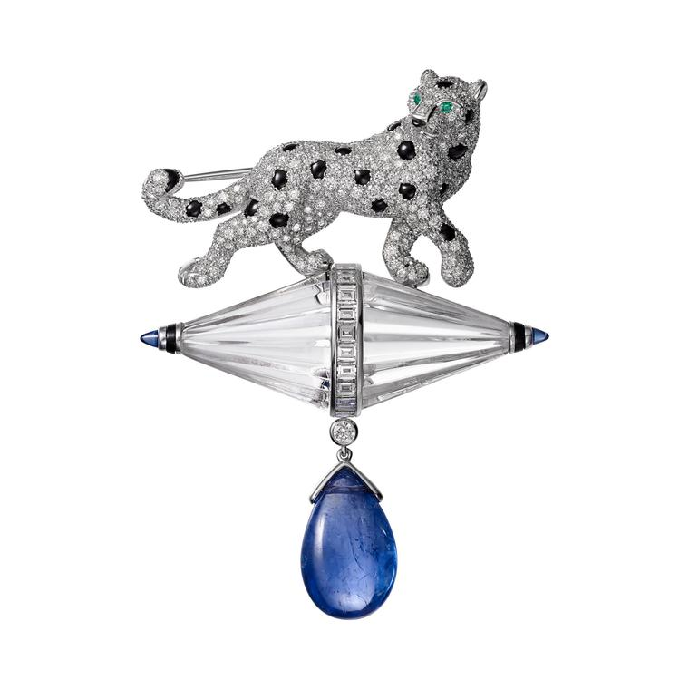Cartier Étourdissant sapphire, emerald, diamond and onyx brooch