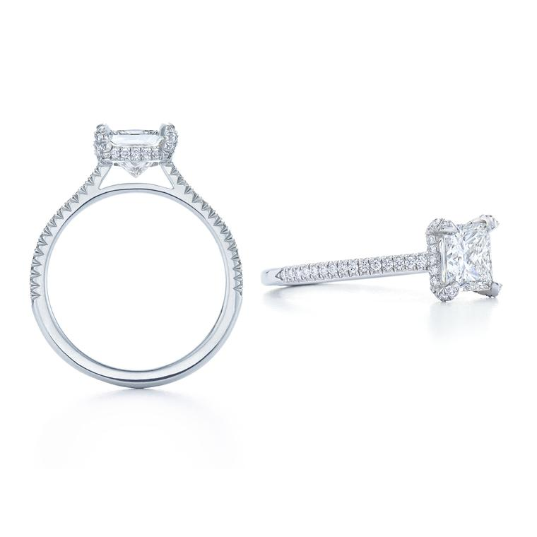 Kwiat princess-cut engagement ring with the Kwiat setting