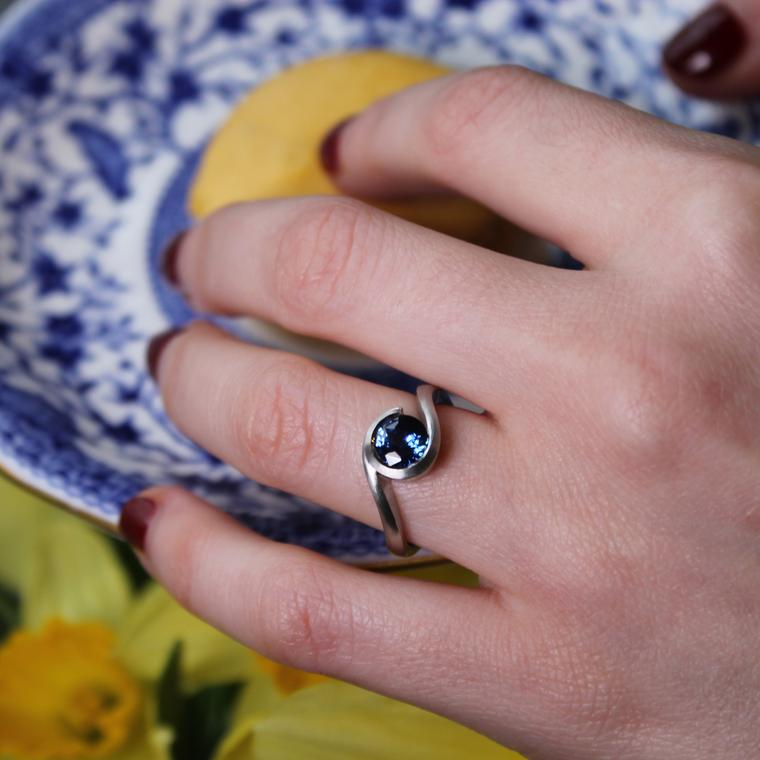 McCaul Goldsmiths blue sapphire engagement ring