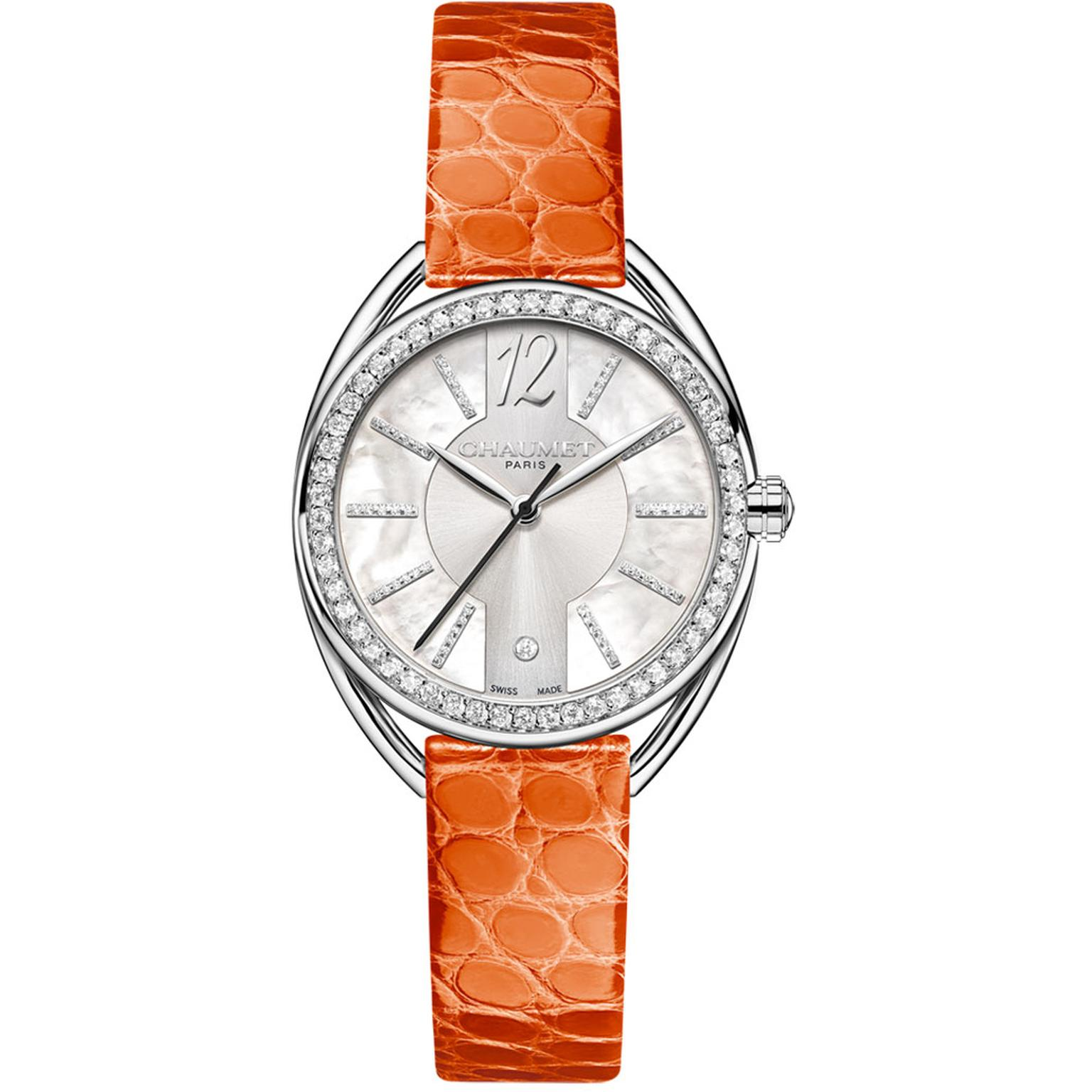Chaumet Liens Lumière watch 27mm in steel with orange strap