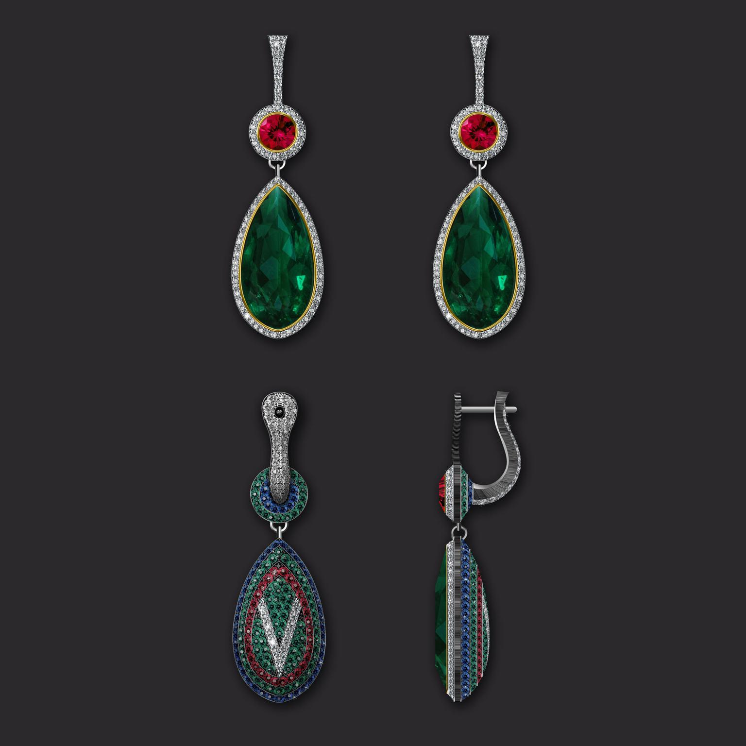 Maxim V egg pendant with Zambian emerald and diamond pave