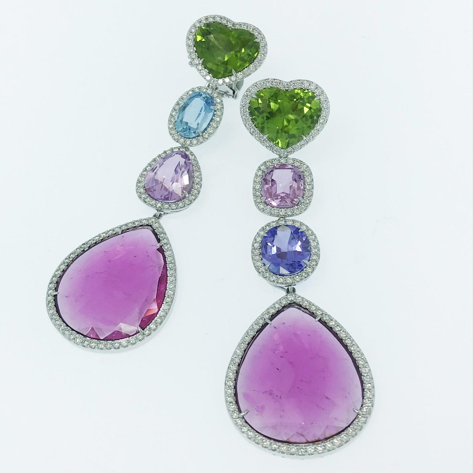 Multi stone drop earrings 010301 from Margot McKinney