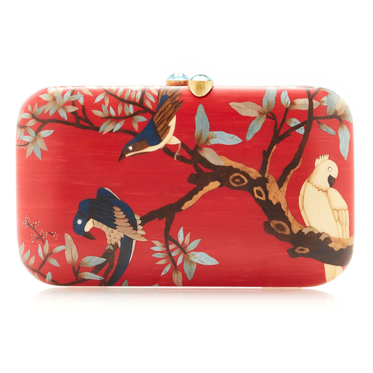 Silvia Furmanovich red marquetry clutchbag