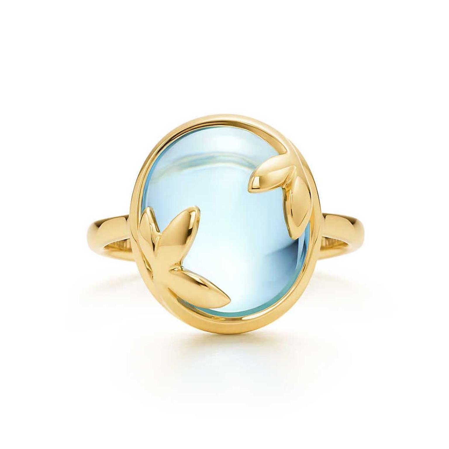 Paloma Picasso for Tiffany Olive Leaf Swiss blue topaz ring