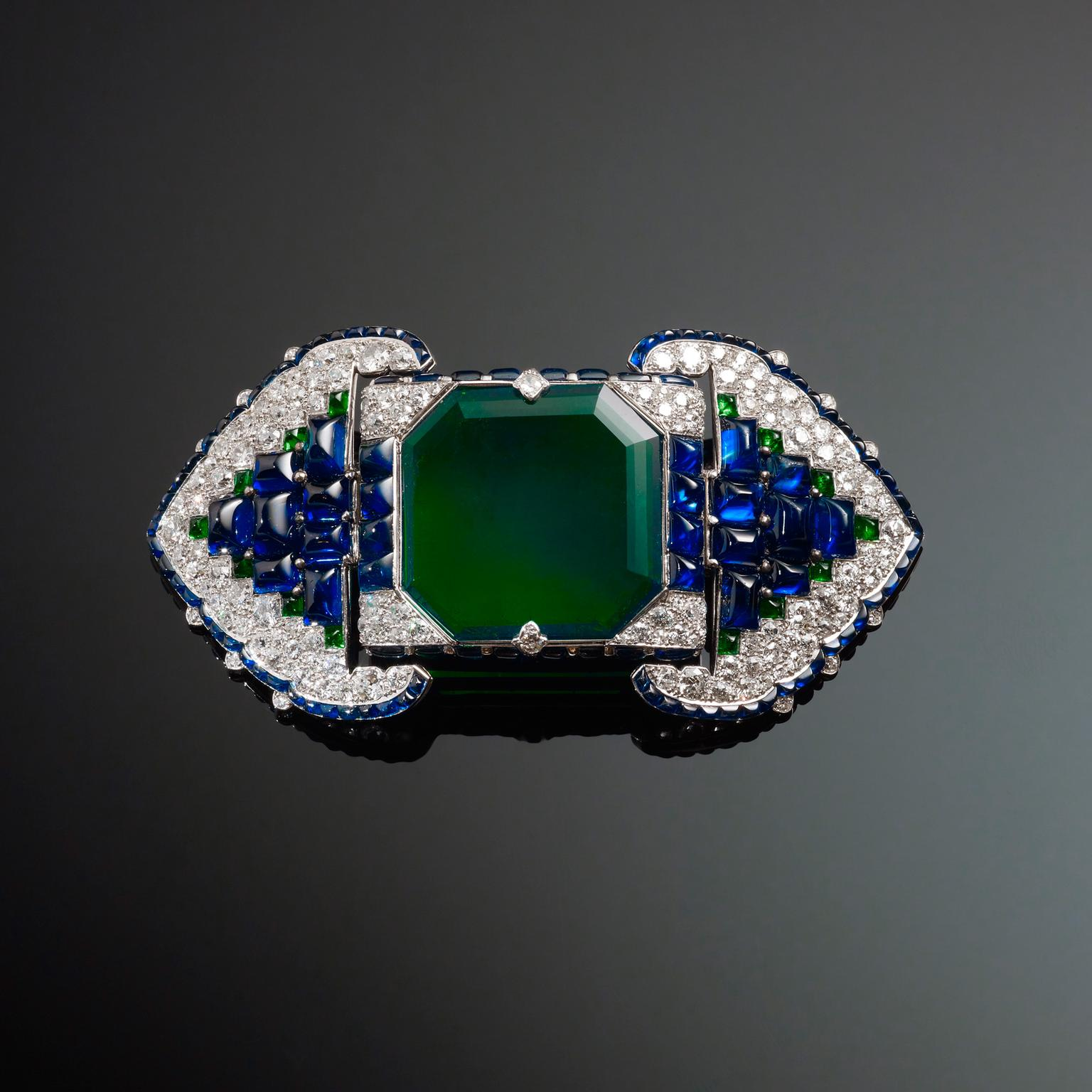 Cartier brooch with emeralds, sapphires and diamonds