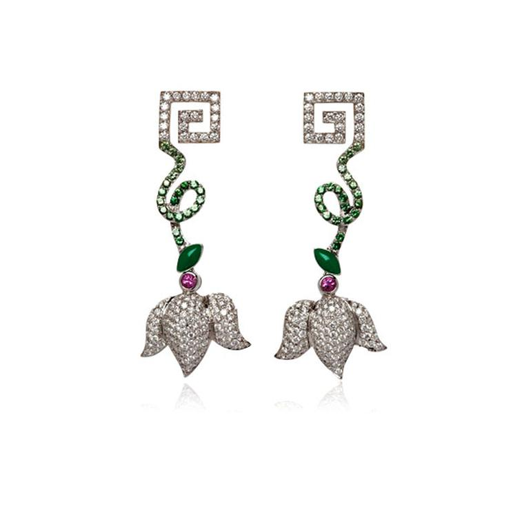 Antiquaire Imaginaire Greek Key green tsavorite earrings
